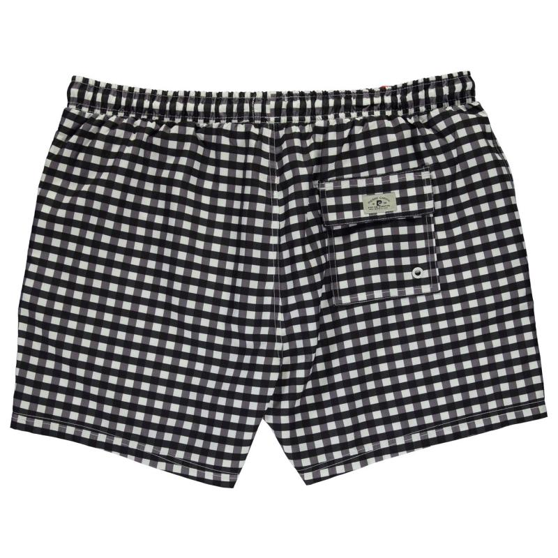 Plavky Pierre Cardin XL Large Check Shorts Mens Black/White
