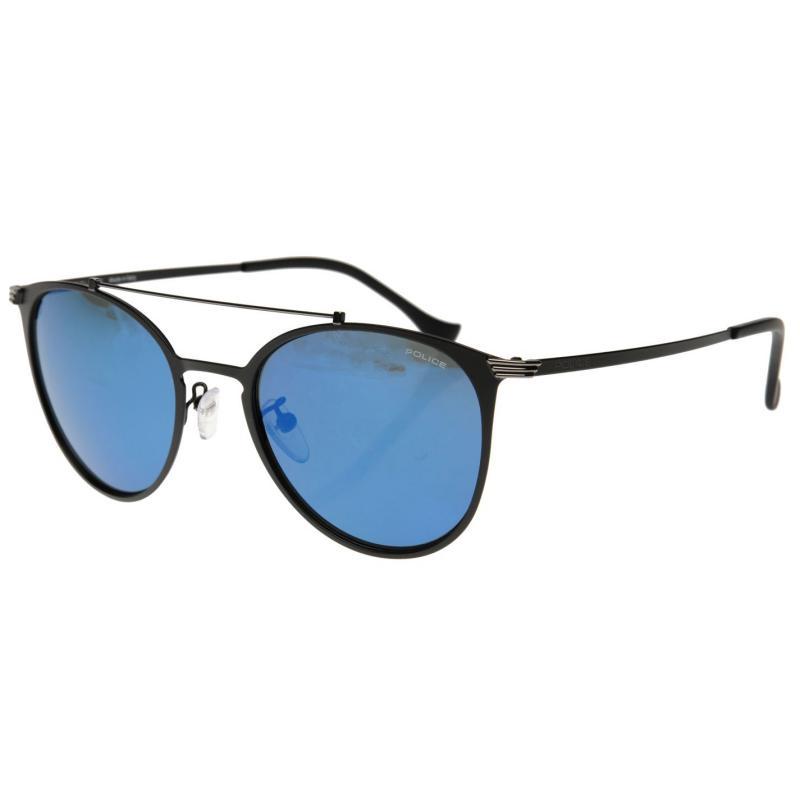 Police Rival 9 Metal Oval Sunglasses Black / Blue, Velikost: ostatní