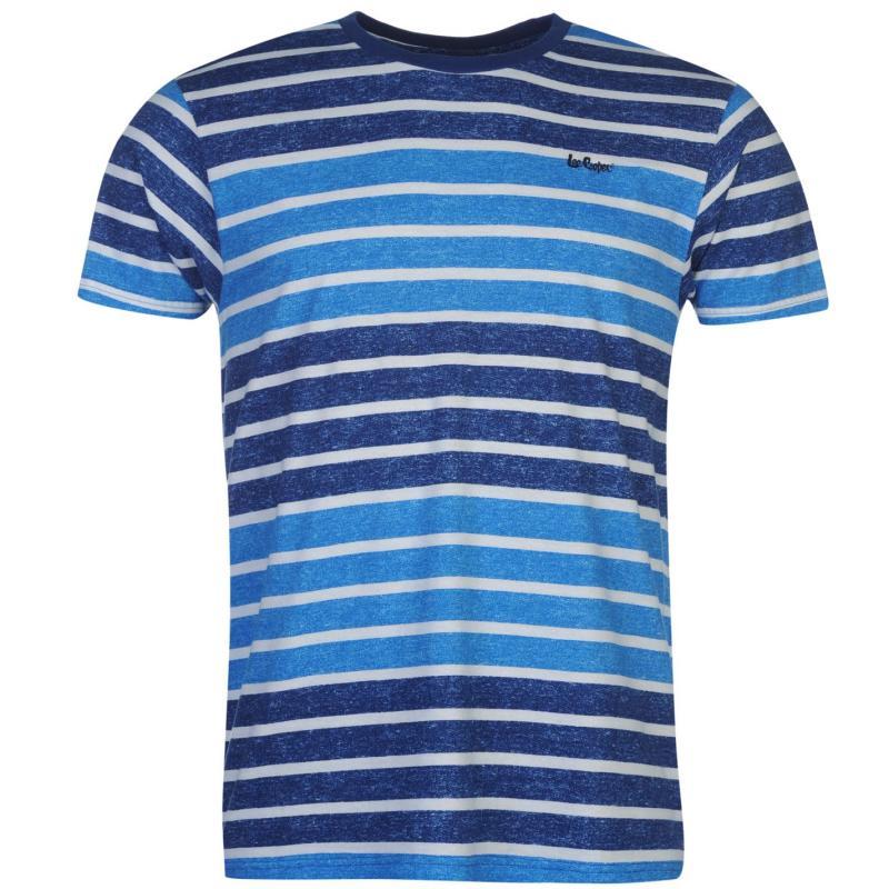 Tričko Lee Cooper Textured Short Sleeve T Shirt Mens Blue Stripe