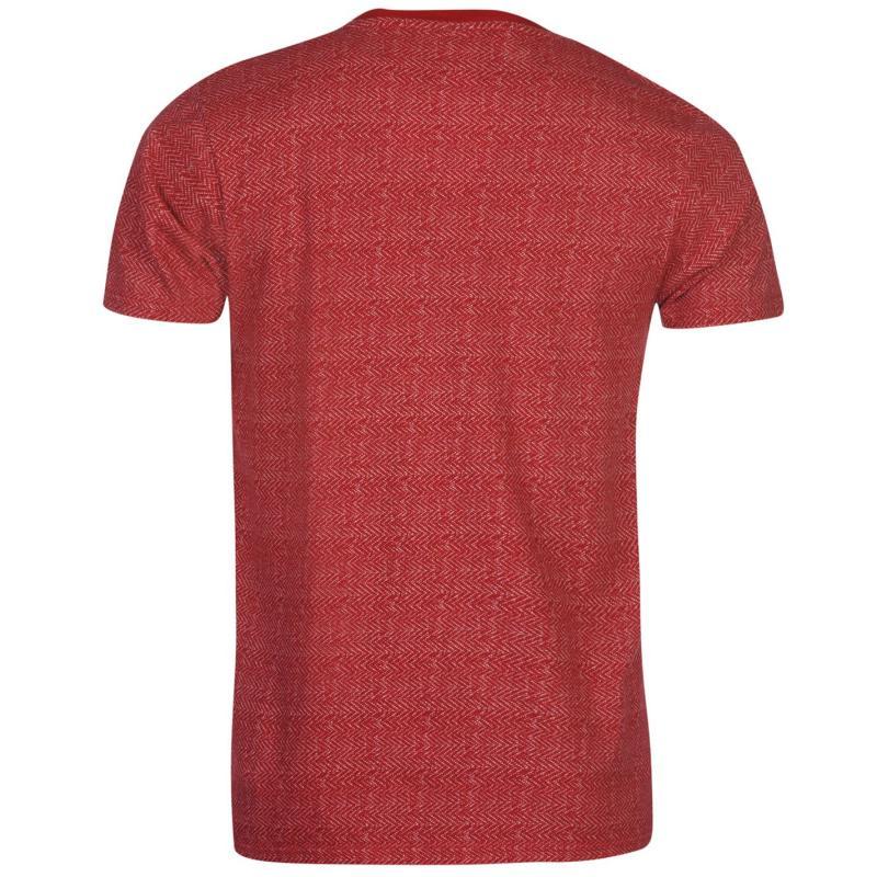Tričko Lee Cooper Textured Short Sleeve T Shirt Mens Vintage Red
