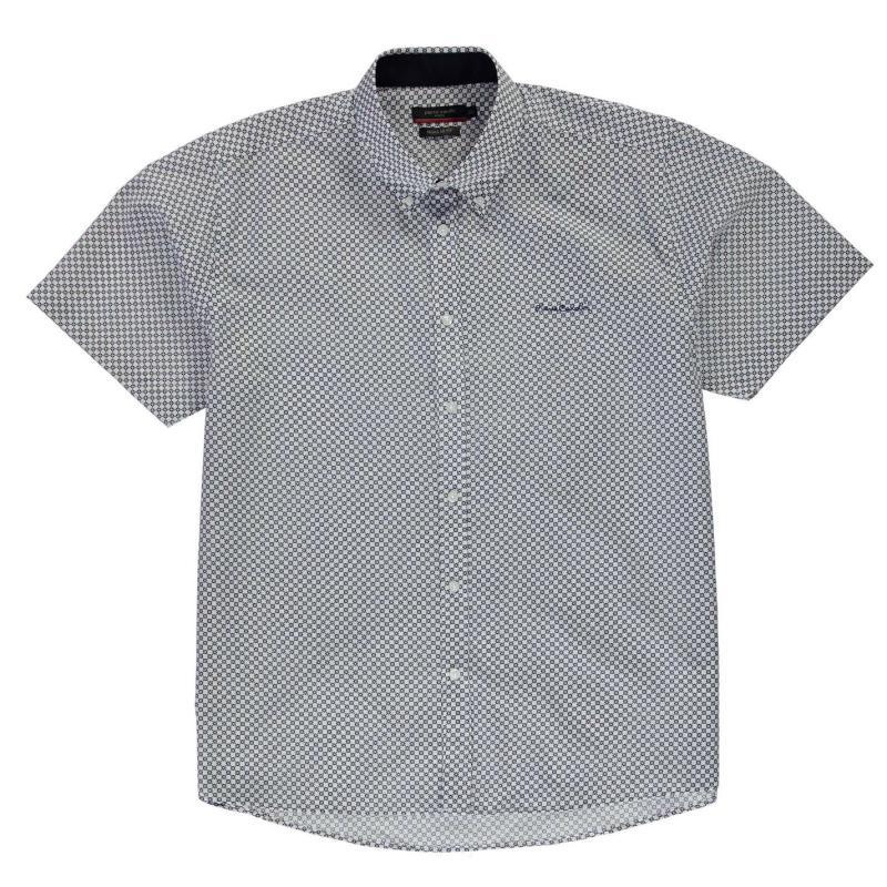 Košile Pierre Cardin XL Short Sleeve Shirt Mens Blue Geo