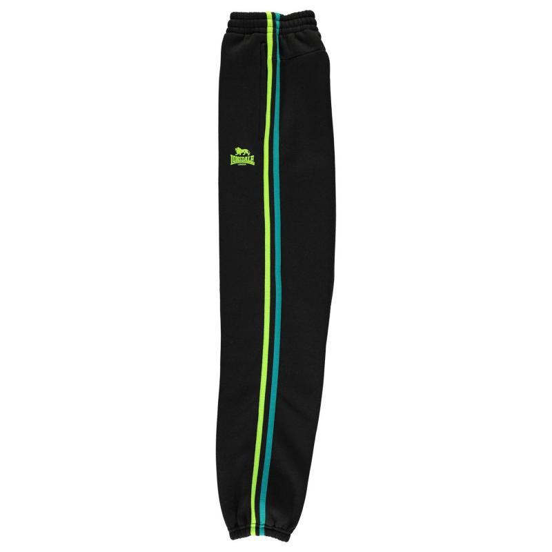 Tepláky Lonsdale 2 Stripe Jogging Bottoms Junior Boys Black/Green