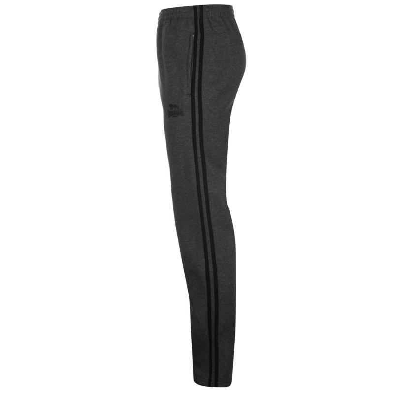 Tepláky Lonsdale 2 Stripe OH Jogging Bottoms Mens Charcoal/Black