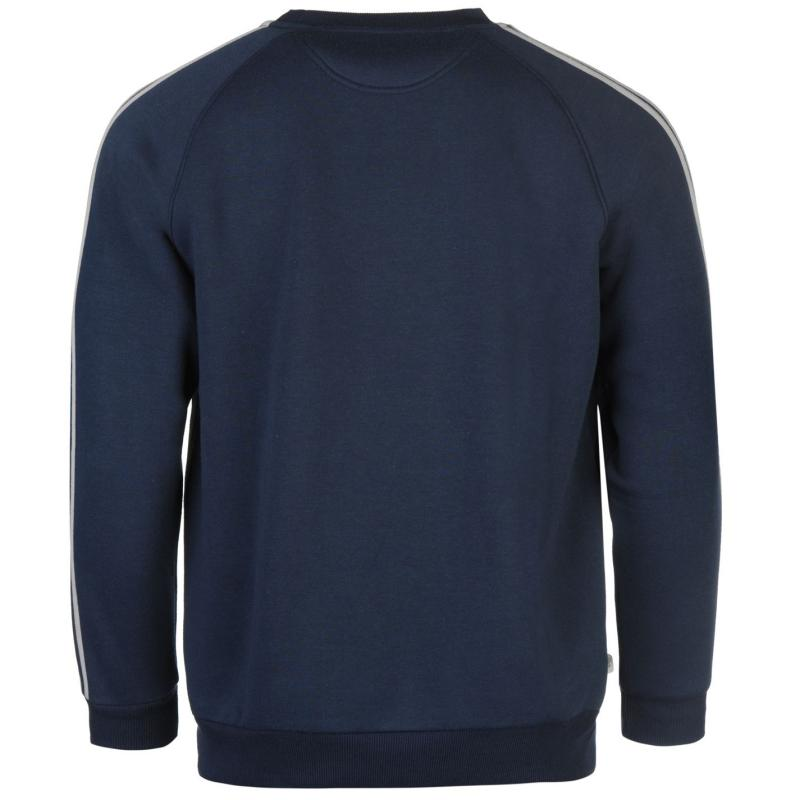 Mikina Lonsdale 2 Stripe Crew Sweater Mens Navy/Grey Marl