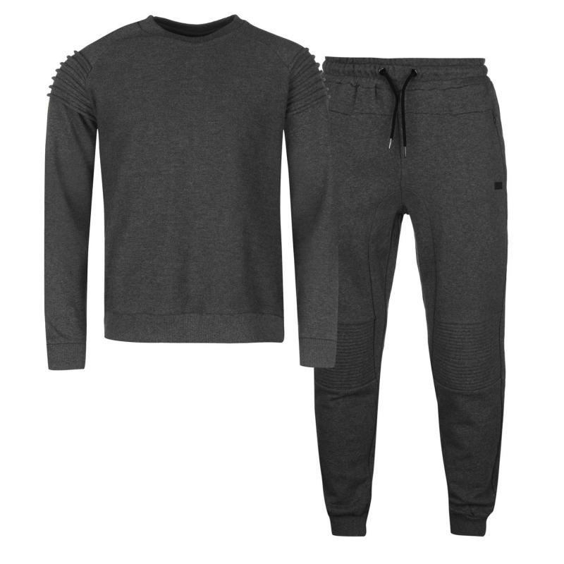 Mikina Firetrap Luxe Textured Crew Sweater Charcoal Marl