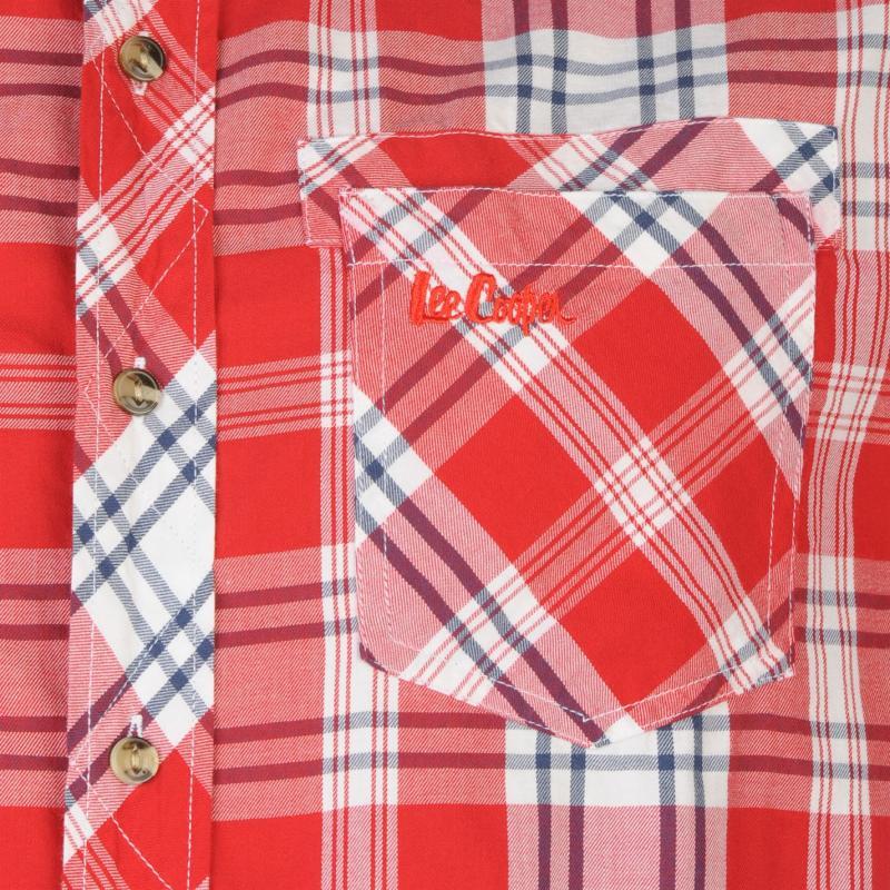 Košile Lee Cooper Evan Short Sleeve Check Shirt Mens Red