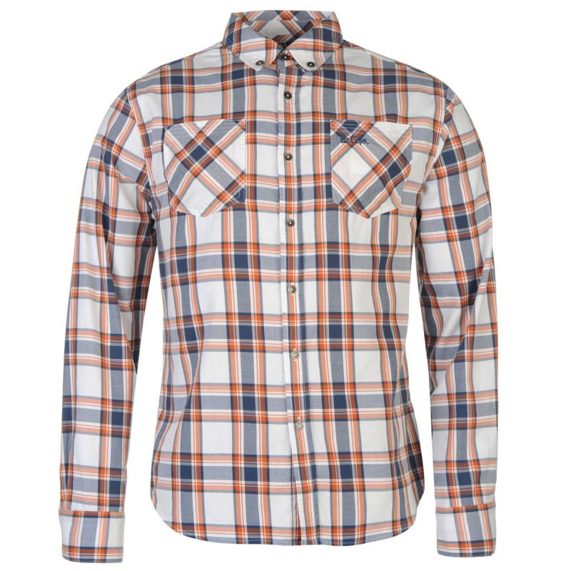 Košile Lee Cooper Harlington Long Sleeve Check Shirt Mens White