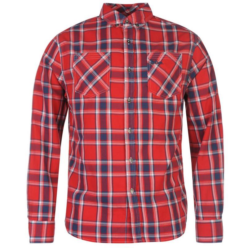 Košile Lee Cooper Harlington Long Sleeve Check Shirt Mens Red