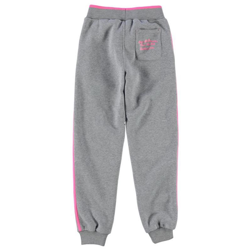 Everlast Large Logo Jogging Bottoms Junior Girls Charcoal/Coral
