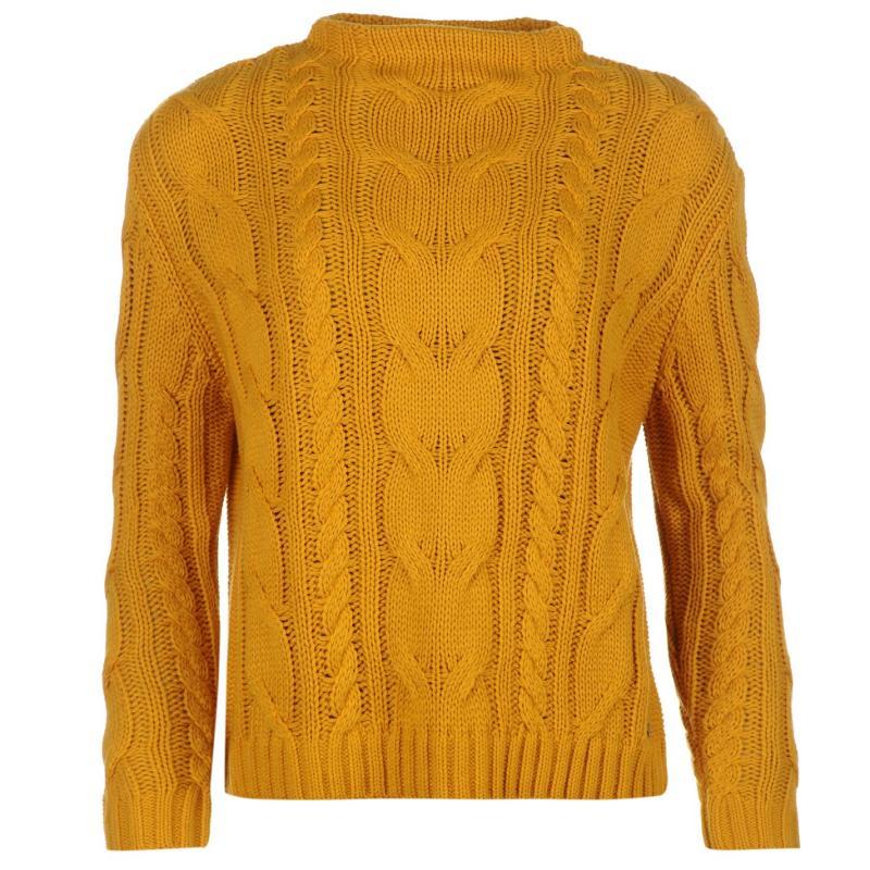 Svetr Kangol High Neck Knitted Jumper Ladies Golden Yellow