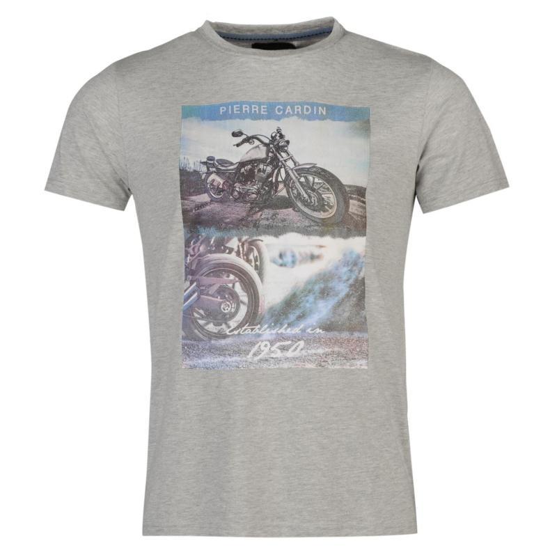 Tričko Pierre Cardin Photo T Shirt Mens Silver Marl