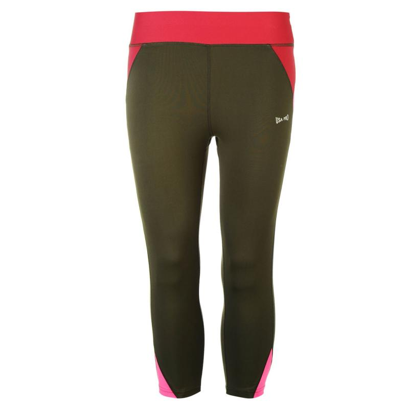 USA Pro Three Quarter Leggings Khaki/Burg/Pink