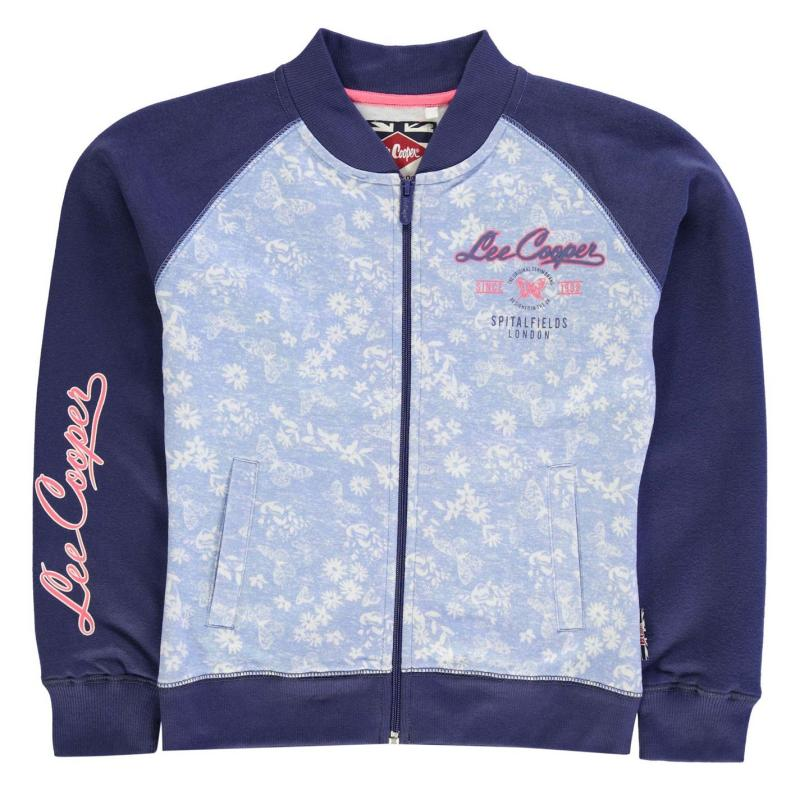Lee Cooper Textured AOP Baseball Zip Jacket Junior Girls Powder Blue, Velikost: 11-12 let (LB)