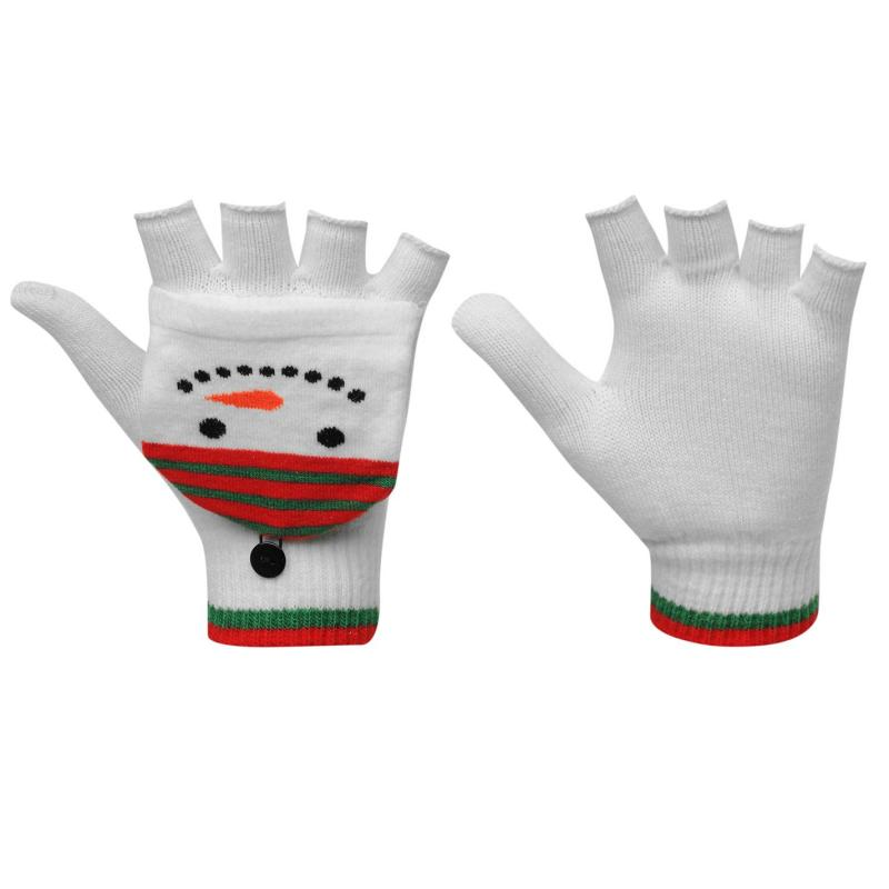 Star Christmas Mittens Ladies White/Red/Green
