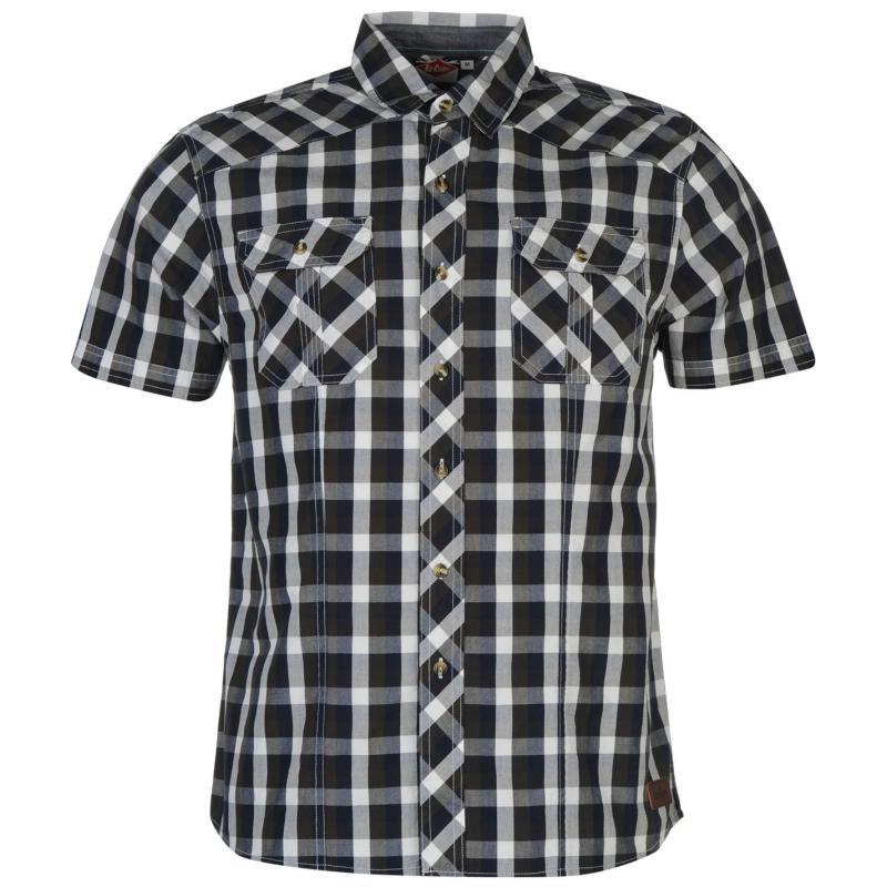 Košile Lee Cooper James Short Sleeve Check Shirt Mens Indigo