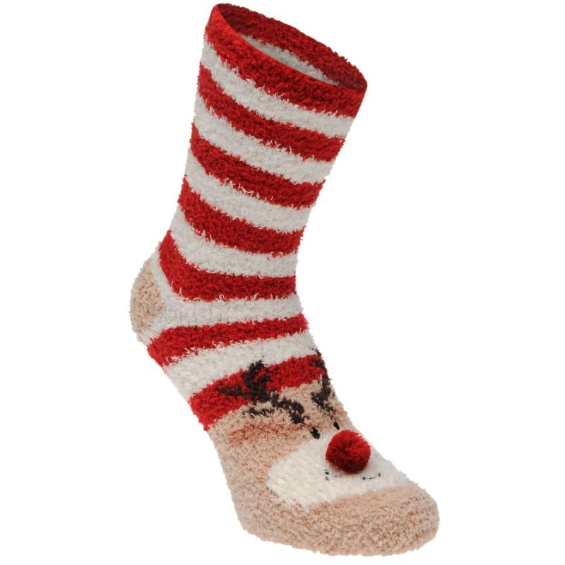 Miso Cosy Lounge Socks Ladies Blue/Red/White