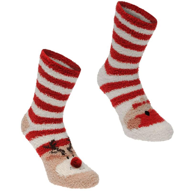 Ponožky Miso Cosy Lounge Socks Ladies Red/White Strip