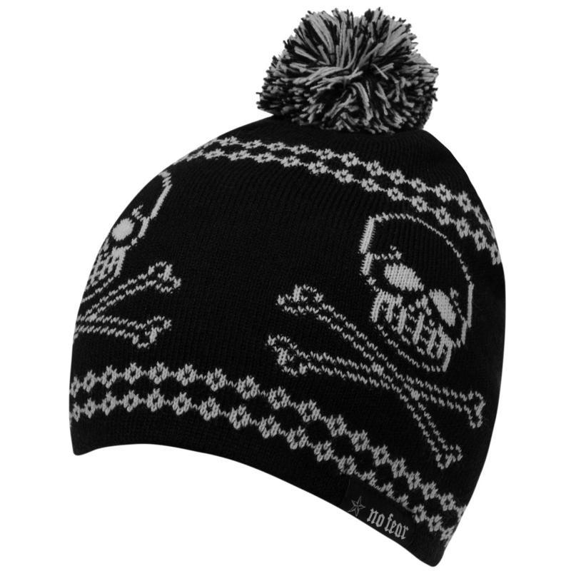 No Fear Skull Winter Hat Junior Boys Black/Grey