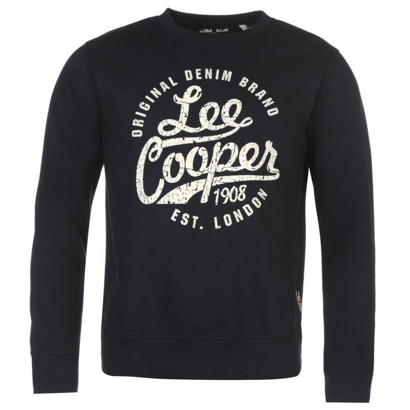 Lee Cooper Crew Logo Sweater Mens Navy