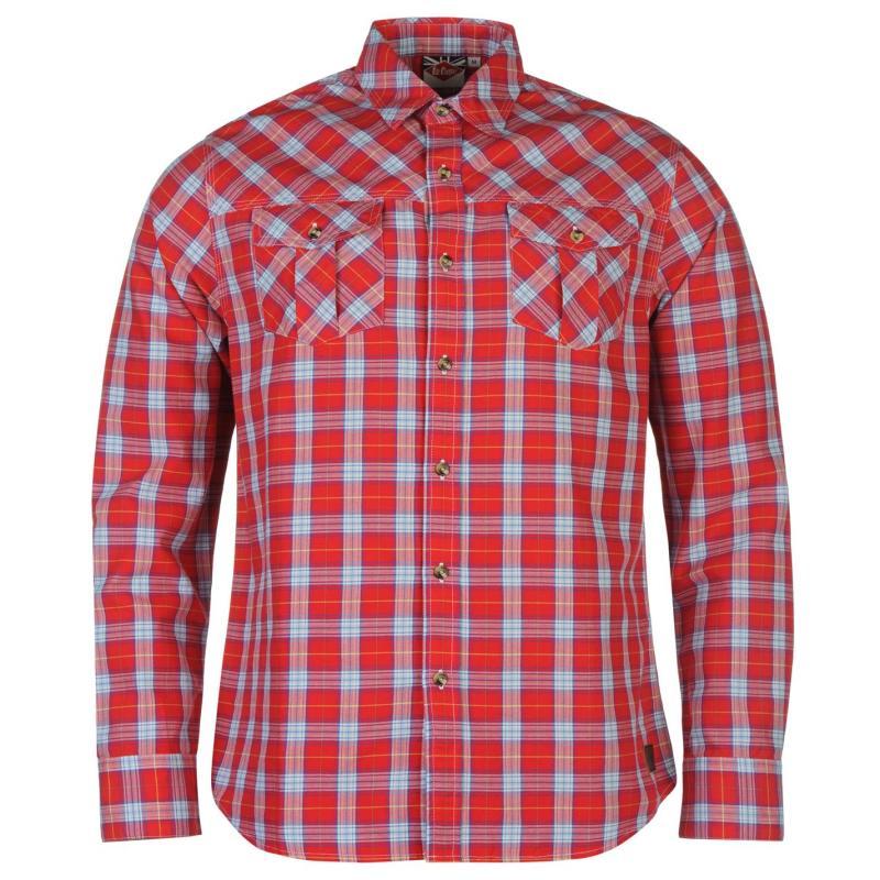 Košile Lee Cooper Islington Long Sleeve Check Shirt Mens Red