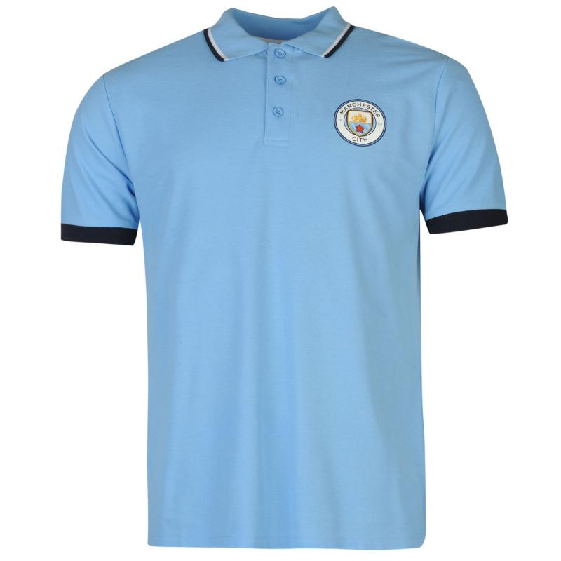 Source Lab Manchester City FC Polo Shirt Mens Sky