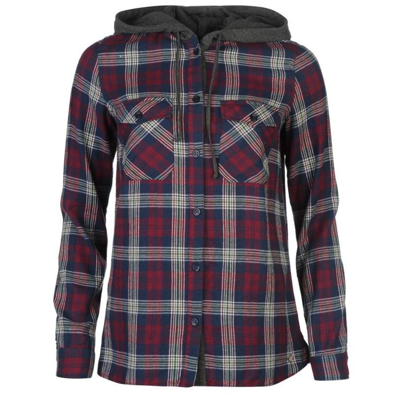 Košile SoulCal Hooded Shirt Burgundy Check