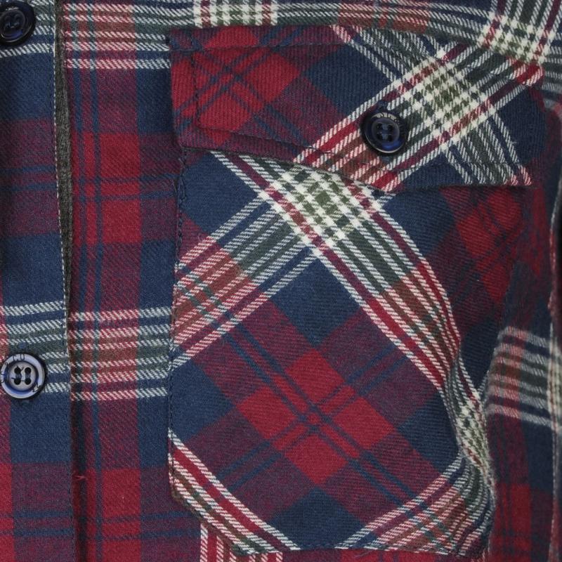 Košile SoulCal Hooded Shirt Burgundy Check