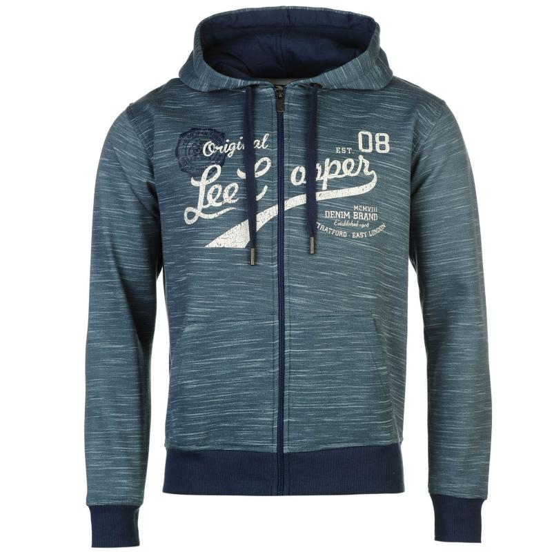 Mikina Lee Cooper Textile All Over Print Zip Hoody Mens Denim Blue