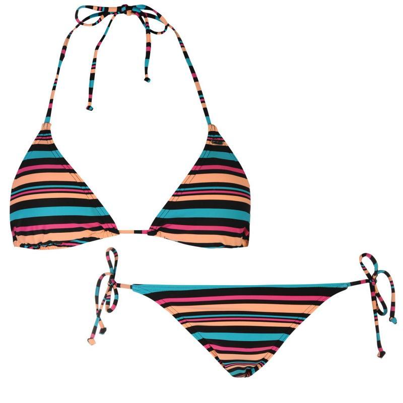 Plavky ONeill Stripe Bikini Set Ladies Black Stripe
