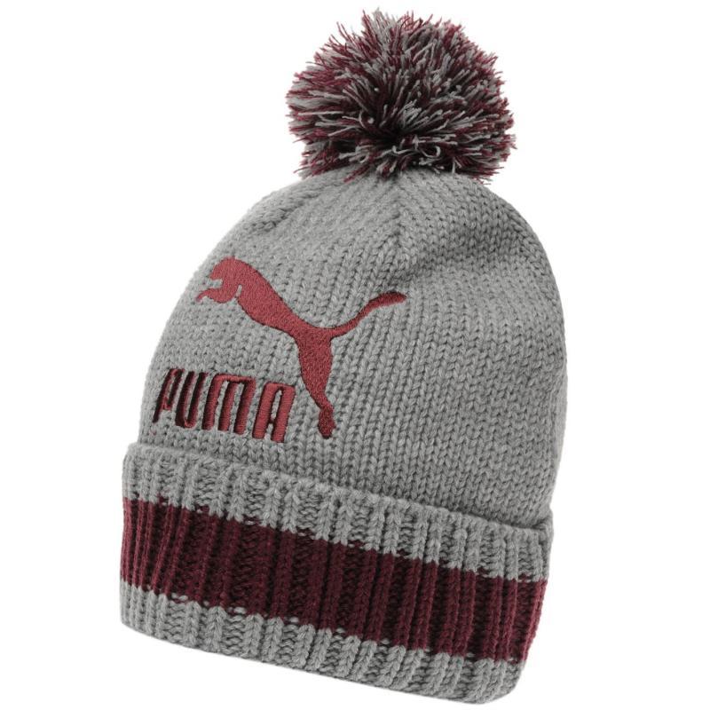 Puma Word Beanie Hat Mens Grey/Red