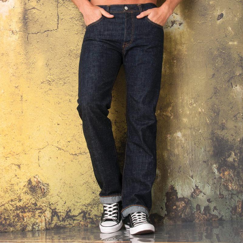 Levis Mens 501 Original Fit Enzyme Wash Jeans Denim