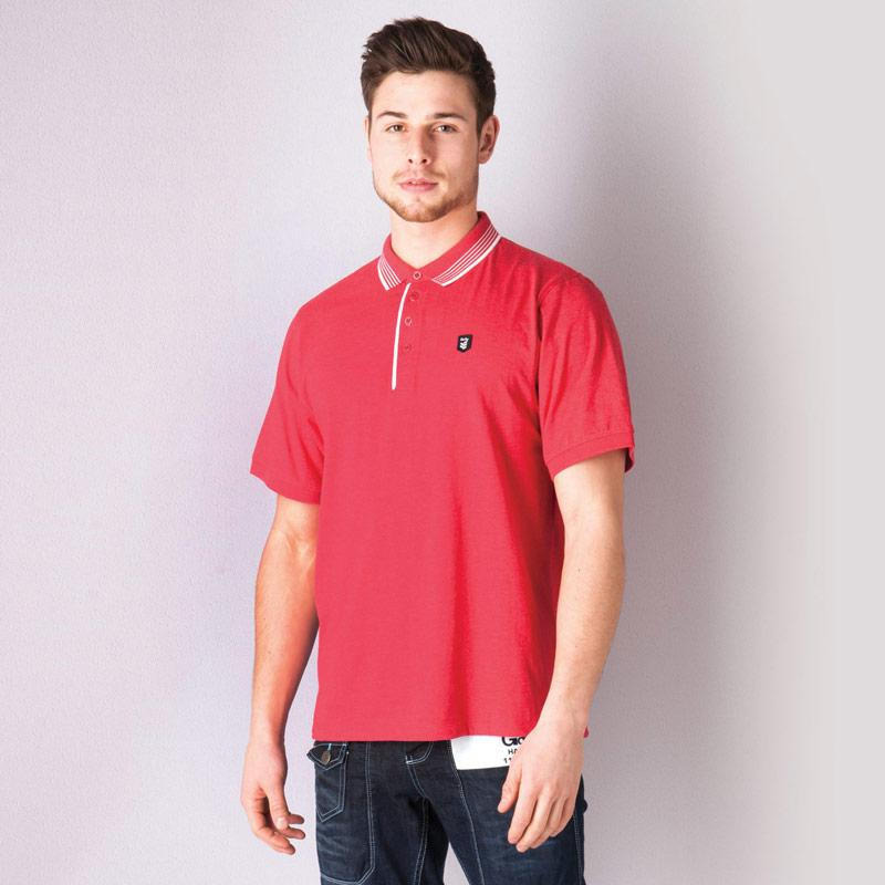 Gio Goi Mens Borax Marl Polo Shirt Red
