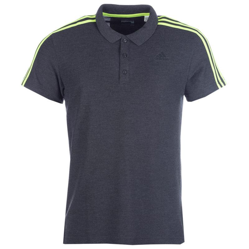 Adidas Mens Sport Essentials 3S Polo Shirt Charcoal Marl, Velikost: XS