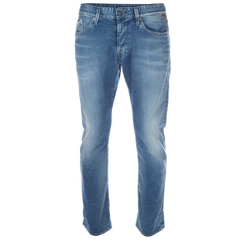 Replay Mens Waitom Regular Slim Jeans Blue, Velikost: W30 R