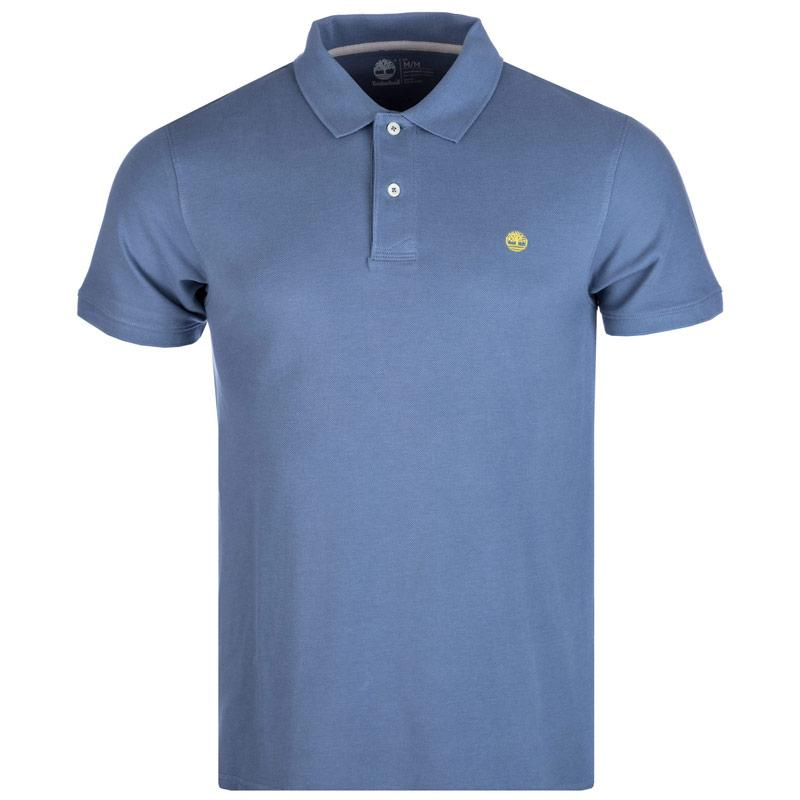 Timberland Mens Slim Millers River Polo Shirt Light Blue