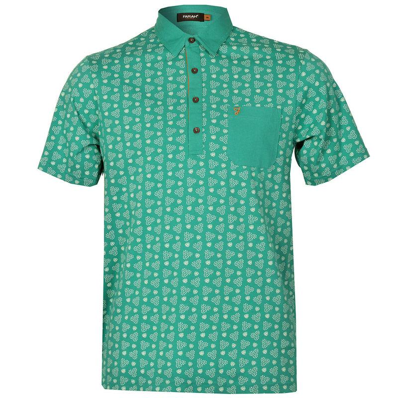 Farah Mens The Mayer Retro Circle Polo Shirt Mint