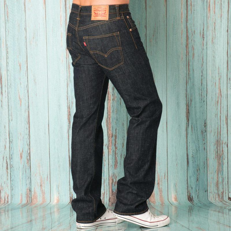 Levis Mens 501 Original Fit Dark Wash Jeans Denim