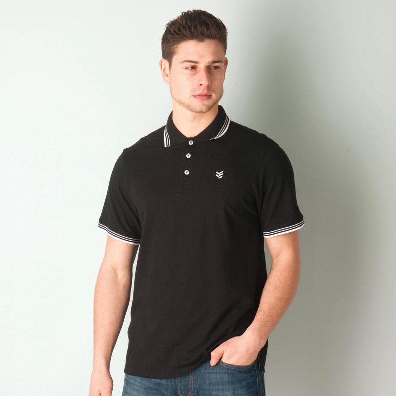 Gio Goi Mens Paco Polo Shirt Black-White