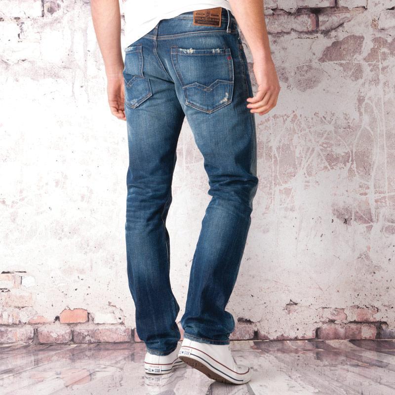 Replay Mens Waitom Regular Slim Jeans Denim