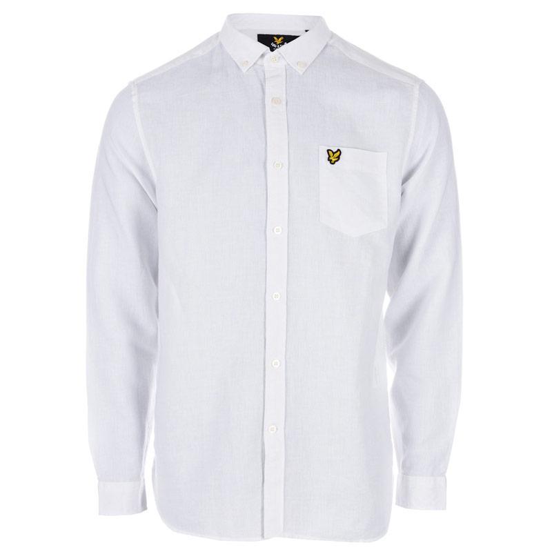 Košile Lyle And Scott Mens Cotton Linen Shirt Blue