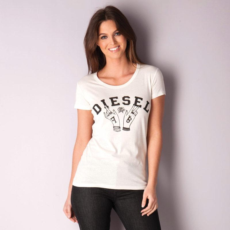 Diesel Womens T-Mons T-Shirt Off White