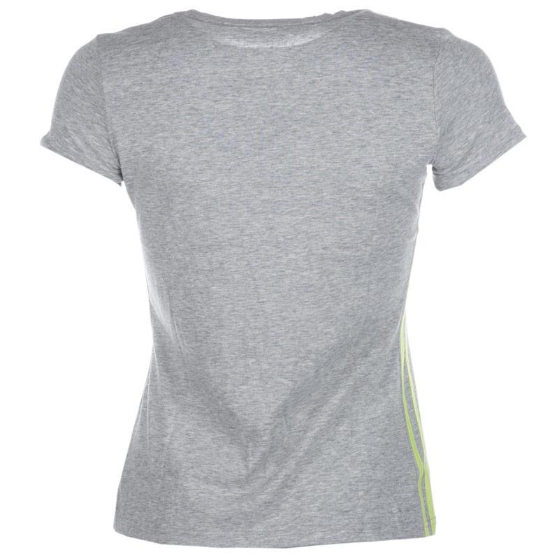 Adidas Womens Essentials Mid 3 Stripes T-Shirt Grey Marl, Velikost: 12 (M)