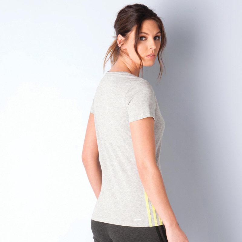 Adidas Womens Essentials Mid 3 Stripes T-Shirt Grey Marl