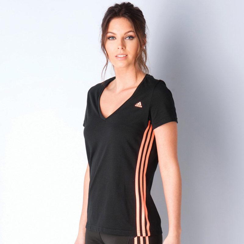 Adidas Womens Essentials Mid 3 Stripes T-Shirt Black