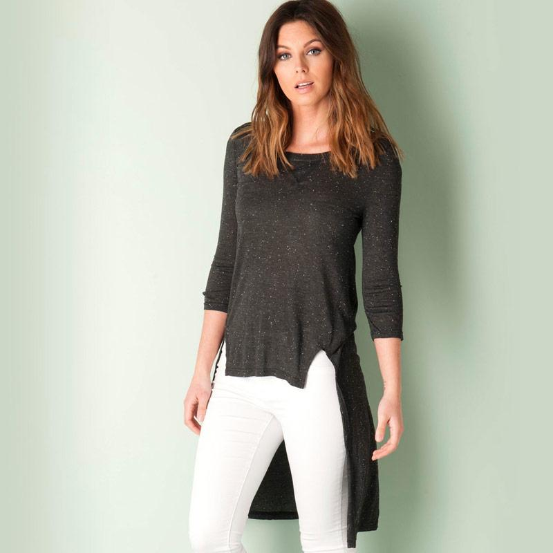 Vero Moda Womens Gina 3 Quarter Top Charcoal Marl
