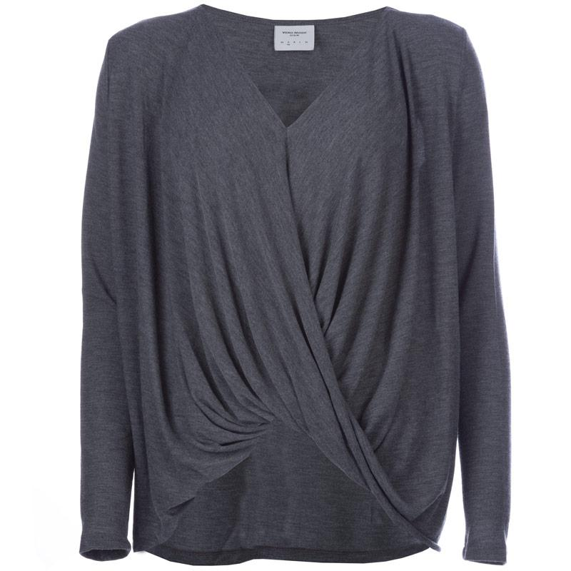 Vero Moda Womens Honie Wrap Top Grey Marl