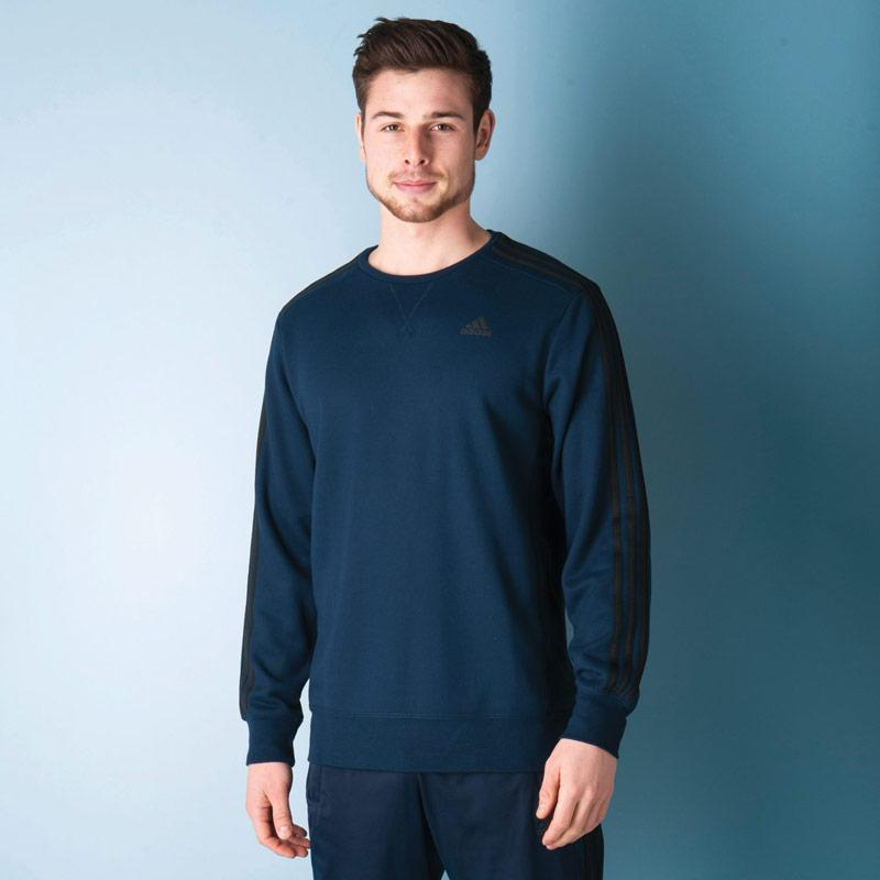 Mikina Adidas Mens Essentials 3S Crew Sweatshirt Navy