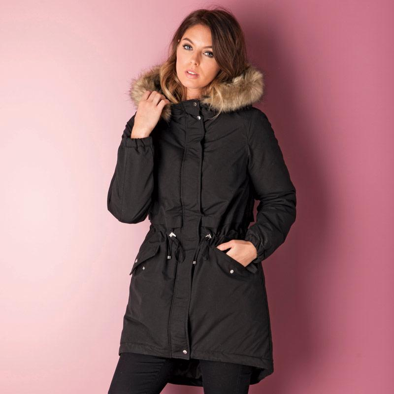 Bunda Vero Moda Womens Sabella 3 Quarter Parka Coat Black