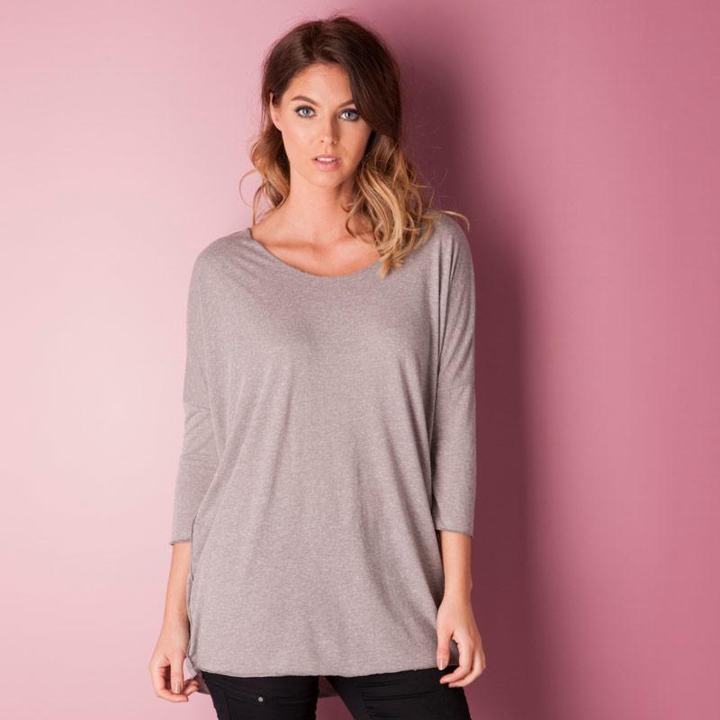 Vero Moda Womens Lua Lolly Oversize Top Grey Marl