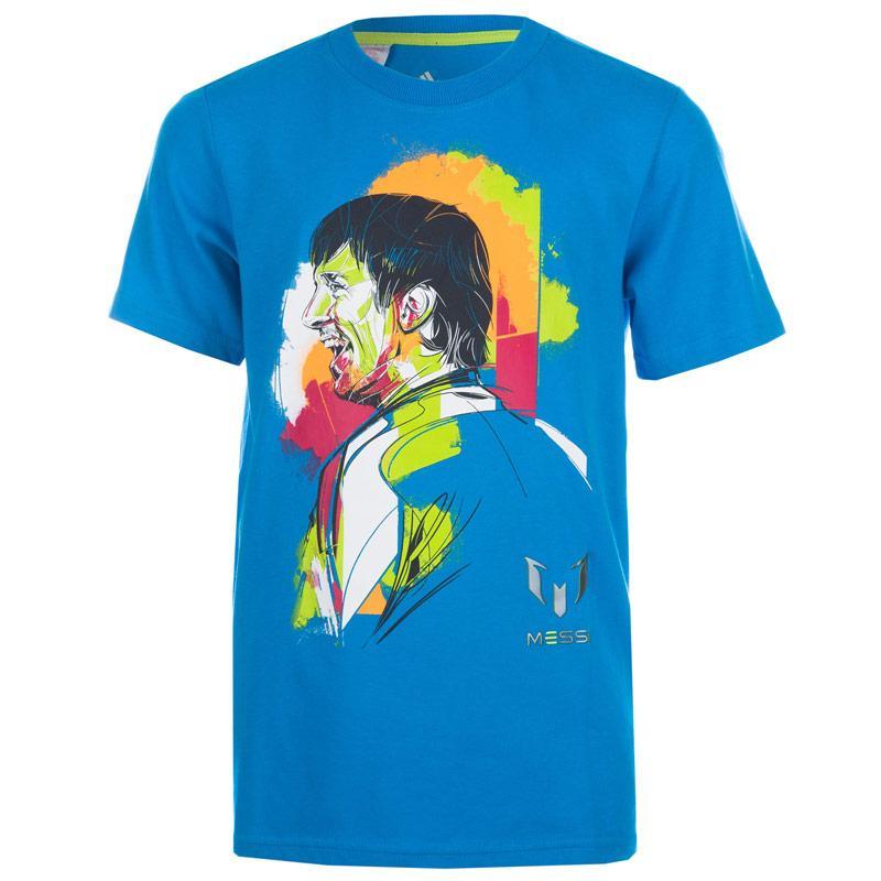 Tričko Adidas Junior Boys Messi Printed T-Shirt Blue